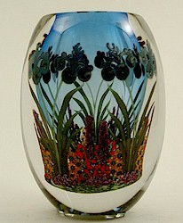 Blue Iris on Blue Blown Glass Vessel